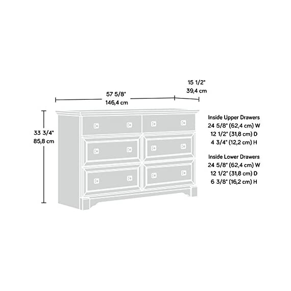 Sauder Palladia Dresser, Vintage Oak finish - Drawers with metal runners and safety stops feature patented t-slot assembly system Four lower drawers are extra deep Vintage Oak finish - dressers-bedroom-furniture, bedroom-furniture, bedroom - 417ETojwgoL. SS570  -