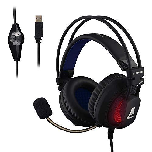 🥇 THE G-LAB – KORP 400 – Auriculares Gaming de Alto Rendimiento – Tecnología 7.1 Surround Sound  – Retroiluminación RGB – Vibraciones – Compatible con PS4 & PC – Negro – Software