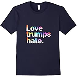 Mens Colorful Love Trumps Hate T Shirt Anti-Trump Sanders XL Navy