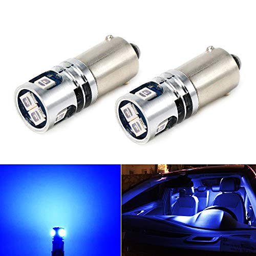 t 2835 5-SMD BA9 BA9S 53 57 1895 64111 Blue LED Car Light Bulb for License Plate Side Door Courtesy Interior Dome Map Lights ()