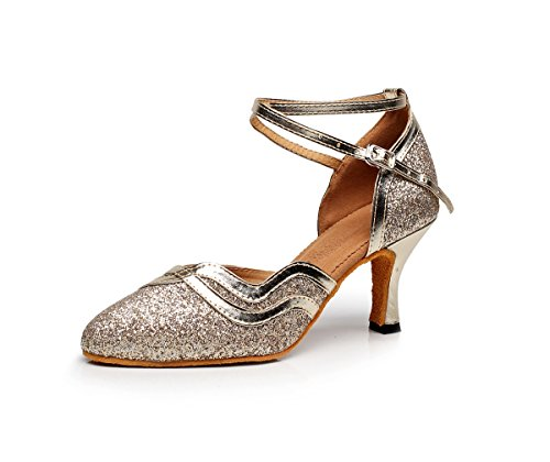 Minishion Lukket Toe Ankel Strap Glitter Tango Salsa Latin Ballroom Dans Sko Kveld Prom Pumper Gull 7,5 Cm Hæl