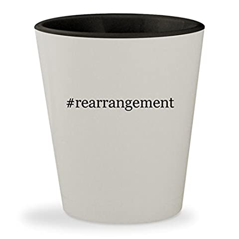 #rearrangement - Hashtag White Outer & Black Inner Ceramic 1.5oz Shot Glass (Thinking Changing Rearranging)