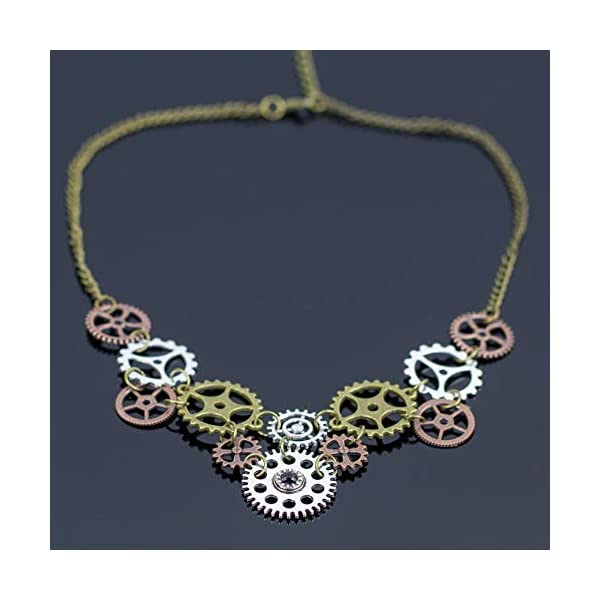 Halloween Steampunk Accessories Clock Gear Statement Necklace Vintage Costume Jewelry Mixed Metal 4