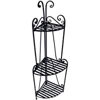 Folding Corner Bakers Rack Three Shelves - Black