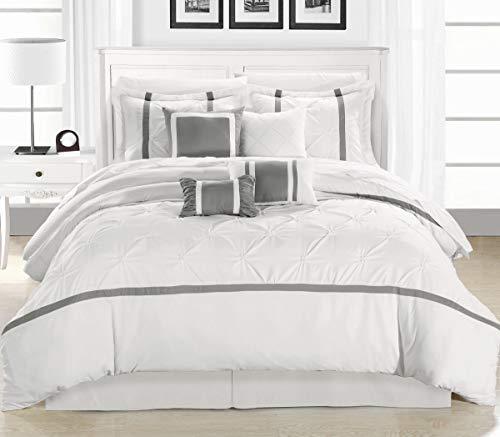 Chic Home 8 Piece Vermont Comforter Set, King, White