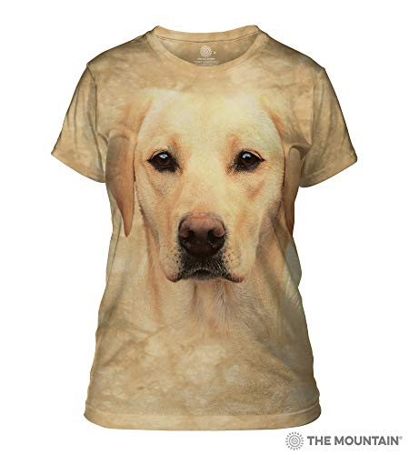 The Mountain Yellow Lab Portrait Adult Woman's T-Shirt, Sand, 2XL ()
