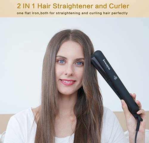 Professional Ceramic Hair Straightener, Ionic Flat Iron through Bownyu, 2 in 1 Hair Straightener & Curler Iron for All Hair Types, Safety Lock & Dual Voltage Flat Iron Perfect for Travel, 1 Inch,140-450°F