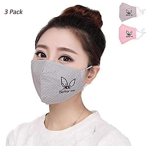 3 Pack Anti Flu Dust Masks, 3D Reusable Breathable Safety Pollution Dustproof Face Cotton Cover with Adjustable Ear Loop