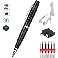Recorder Pen Activated Portable Digital MP3 Player 16GB USB Storage -HEYFIT Multifunction Pen Bundle + Stereo Earphone + Data Cable + Charger + 10 Ink Fills + Fine Packing Box