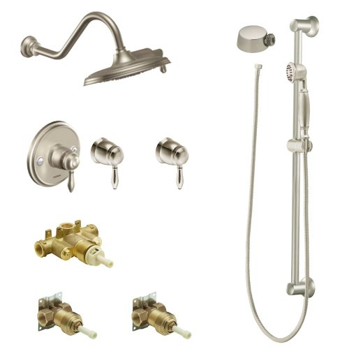 Moen KSPWE-H-TS32112BN Weymouth 9-Inch Rainshower Vertical Spa Kit with Handheld Shower and Slide Bar, Brushed ()