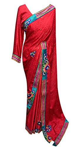 women's Red self printed Indian chiffon saree with blouse Bollywood fashion 7010 (Red) - Red Indian Womens Costume Uk