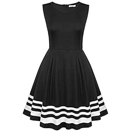 Meaneor Women Sleeveless Black and White Patchwork Pleated Dress 54874e5ac