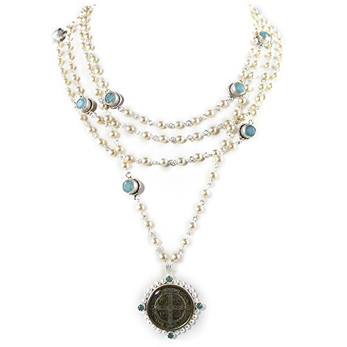 (VSA San Benito Magdalena Necklace in Silver with Pearls, Pacific Opal)