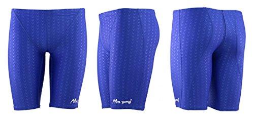 Panegy Herren Badehose Lang Polyester Unifarben Hälfte Schwimmhose Imitation Fischschuppenmuster Badehosen Shorts asiatische Größe XXXL - Blau