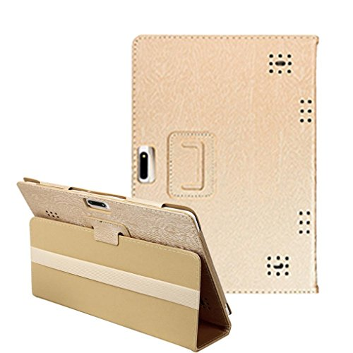 Mchoice Universal Folio Leather Stand Cover Case For 10 10.1 Inch Android Tablet PC (Gold)