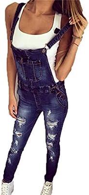 Naliha Womens Jeans Overalls Distressed Pants Skinny Denim Bib Rompers Jumpsuits