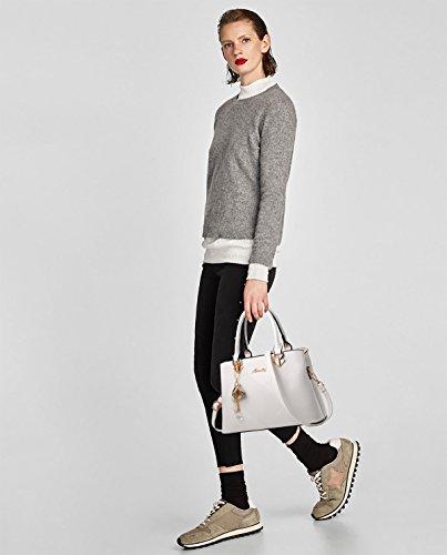 Borsa Sdinaz a donna Tote a Bag moda tracolla bianca spalla monocromatica qqrfnd5Awx