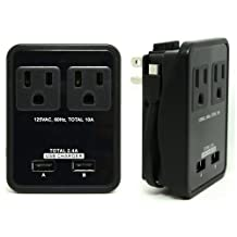 RND Compact Power Station 2.4 Amp Dual USB Ports, 2 AC Outlet Wall Charger with an attached 7 inch Micro USB cable for Samsung Galaxy, Tablets& More as well as USB Ports for iPhones, iPads (black)