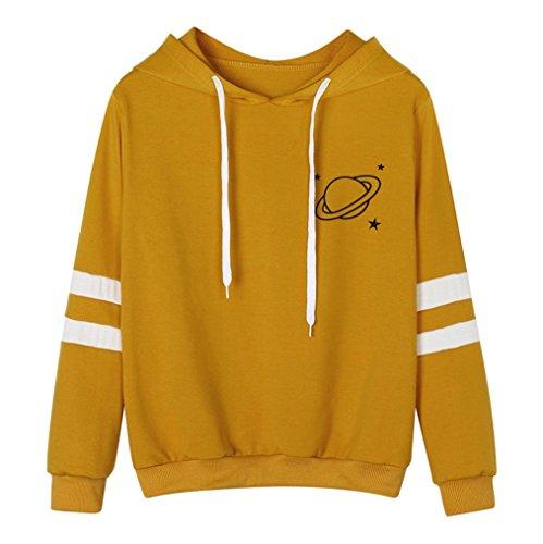 HOT Sale!!Womens Hoodie Sweatshirt Jumper,Woaills Print Long Sleeve Hooded Pullover Tops (M, Yellow) ()