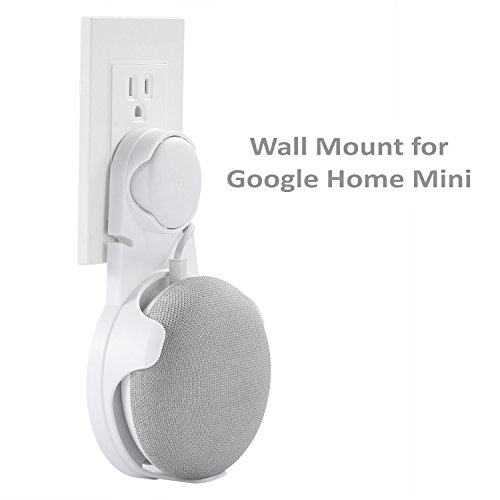 Wall Mount For Google home mini Without Mess Wires Or Screws, A Space-Saving Solution for Your Google home mini, Compact Holder Case Plug in Kitchens, Living Room, Office, Bathroom And Bedroom, WHITE