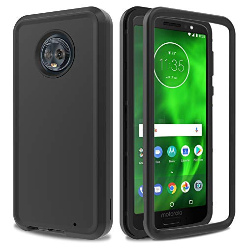 Moto G6 Plus Case AMENQ 3 in 1 Hybrid Heavy Duty Shockproof with Rugged Hard PC and TPU Bumper Protective Armor Phone Cover for Motorola Moto G Plus (6th Gen) 2018 (Black) (Cover Moto Motorola G)