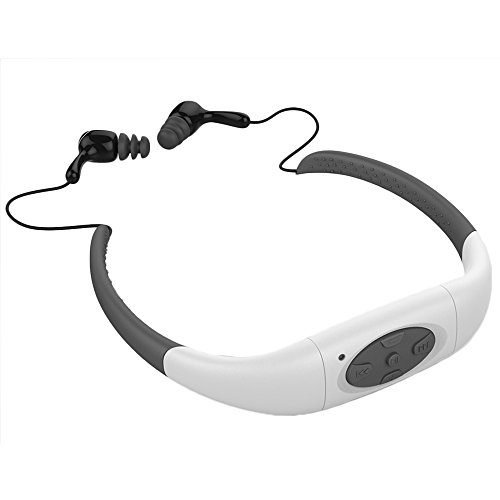 Waterproof MP3 Earphone, Yikeshu IPX8 Waterproof Headphone Underwater Sport MP3 with FM Radio Music Player for Swimming Stereo Headset 3-5 Meter Diving Surfing Running (8G, White)