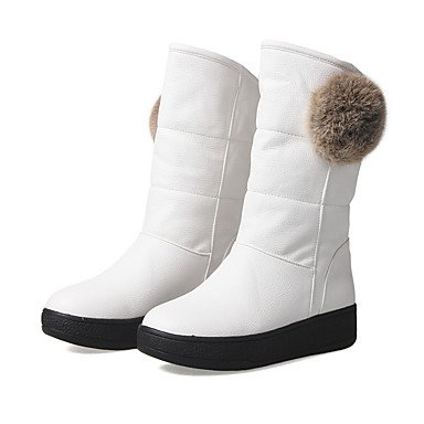 Heel Boots Leatherette Fluff Black Round RTRY Flat Boots Shoes Mid Toe White US8 Women's Casual CN39 EU39 UK6 Calf For Lining Red Winter SO8pO