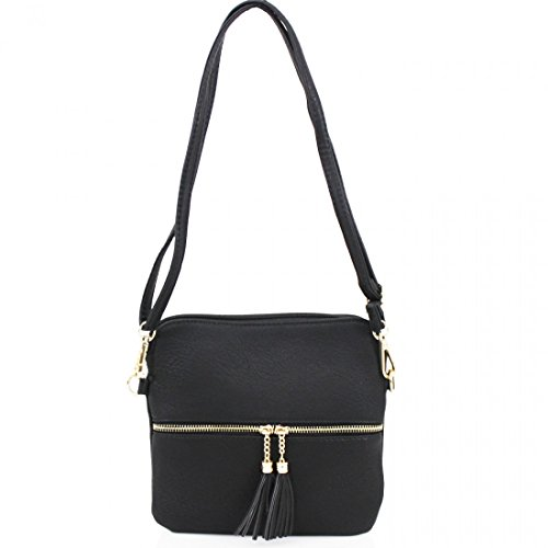 Holiday Cross For Party CW9118 Large Shoulder H24cm Tassel Women's Nice Bags W27cm D2cm Black Bags X Body Soft Her X Small LeahWard Handbags ZPTE6OT