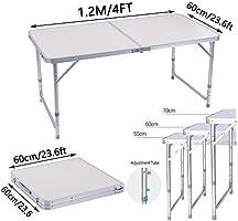 Mesa Plegable 1, 2 Metros y 4 Sillas Mesa Exterior Ajustable De ...