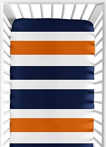 Sweet Jojo Designs Fitted Crib Sheet for Modern Navy Blue and Orange Stripe Baby/Toddler Bedding - Stripe Print (Baby Boy Crib Bedding Orange)