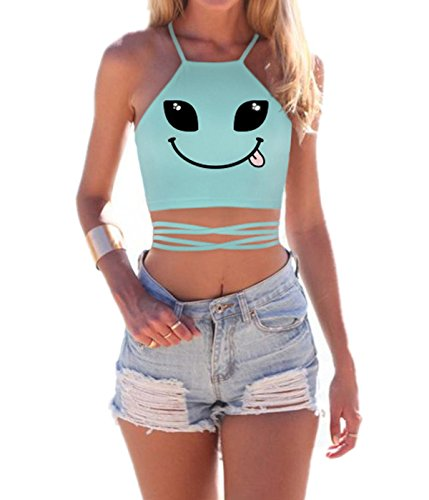 EnlaChic Women's Cartoon Print Crisscross Lace Up Cropped Halter Top,Alien Eyes