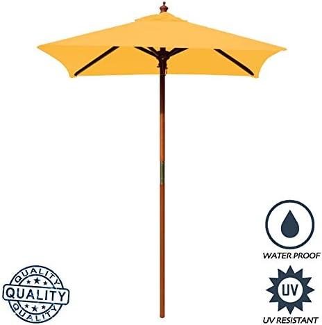 Above All Advertising, Inc. 4 Brolliz Square Umbrella, Wood Yellow