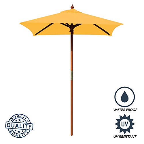 - Above All Advertising, Inc. 4' Brolliz Square Umbrella, Wood (Yellow)