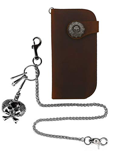 (ABC STORY Handmade Rugged Skull Chain Biker Trucker Concho Wallet w/Necklace for Men Cow Leather Brown)