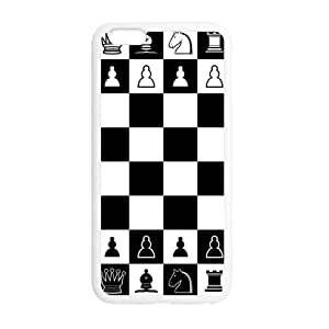 Black and White Chessboard and Chess Pieces iPhone 6 Plus 5.5 Inch Plastic and TPU Durable Phone Case Cover(Laser Technology)