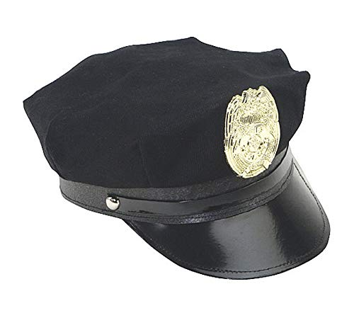 Jacobson Hat Company Police Hat with Bright Gold Plastic Badge - Black - Costume Adult Badge