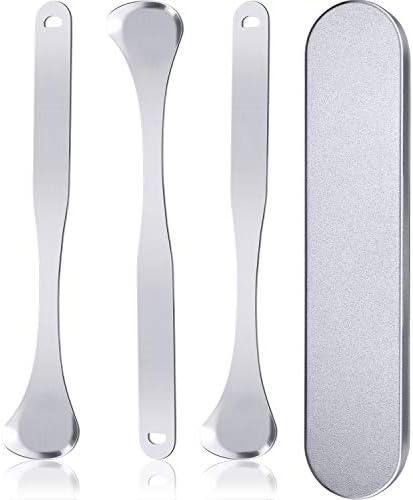 3 Stücke Edelstahl Zungenschaber Reiniger Metall Zungen Kratzreiniger mit Aufbewahrungsbox für Oralen Verwendung