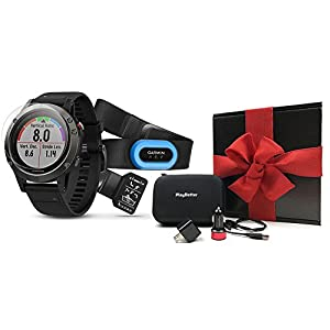 Garmin fenix 5 (Slate Gray/Black Band) GIFT BOX Performer Bundle | Includes HRM Chest Strap, Screen Protector, PlayBetter USB Car/Wall Adapters, Hard Case | Multi Sport GPS Watch, Performer | Gift Box