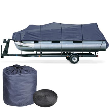 25'-28' Length 114 Inches Width Trailerable Pontoon Boat Cover Storage Bag Blue Protection UV Resistant Mildew Boating Waterproof w/ Strap System & Elastic Hem by Generic