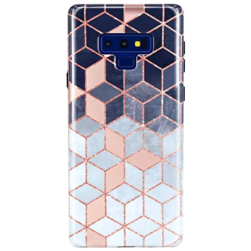 JAHOLAN Galaxy Note 9 Case Shiny Rose Gold Gradient Cubes Design Slim Flexible Bumper Glossy TPU Soft Rubber Silicone Cover Phone Case for Samsung Galaxy Note 9