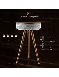 i star Mesa portátil inteligente con altavoz Bluetooth y carga inalámbrica, 88W extremo redondo lado de café mesa de pedestal con 6 altavoces, proyección de sonido de 360° con 2 puertos de carga USB, puerto de cable AUX