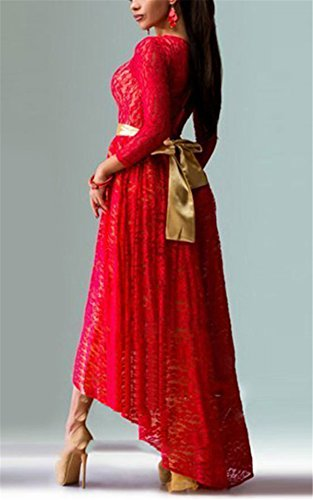 With Belt Women Allonly Dress Gowns Party Long Slim Evening Sexy Irregular Red Lace fPqrRvP