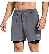 BALEAF Men's 2-in-1 5 Inches Running Athletic Shorts Zipper Pocket