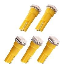 S&D 5PCS T5 1 SMD 5050 Yellow Amber Dashboard Wedge Signal LED Car Light Bulb Lamp