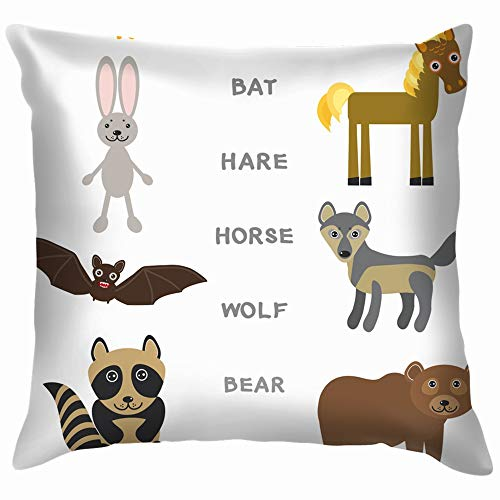 Kids Words Learning Game Worksheet Read Education Alphabetically Throw Pillows Covers Accent Home Sofa Cushion Cover Pillowcase Gift Decorative 18X18 Inch]()