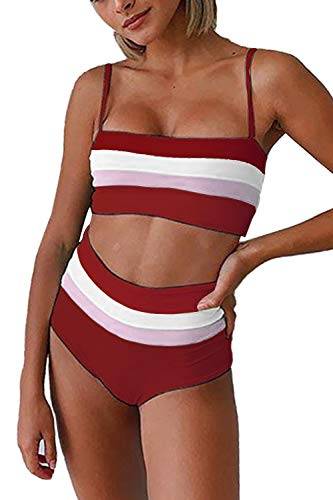 Symptor Womens Contrast Color Bathing Suit Square Neck Beandeau High Waist Swimsuit Wine Red M