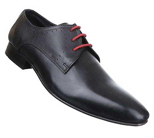 Herren Business-schuhe Schuhe Aussen Leder Schnürer Schwarz Schwarz