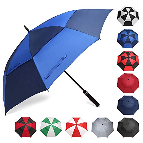 affordable BAGAIL Golf Umbrella 68/62/58 Inch Large Oversize Double Canopy Vented Automatic Open Stick Umbrellas for Men and Women(Navy/Royal Blue,62 inch)
