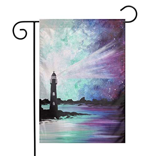 Lighthouse Painting Garden Flags Home Indoor & Outdoor Holiday Decorations,Waterproof Polyester Yard Decorative for Game Family Party Banner