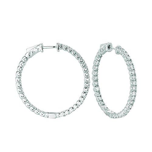 14K White Gold Hoop Earrings (patented snap lock) - 3.25ctw. Diamond